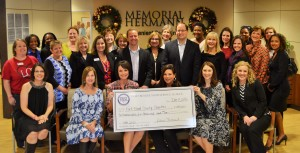 Representatives of the organizations receiving proceeds from the 2015 Sugar Plum Market joined members of FBJSL and representatives of Memorial Hermann on December 11th to celebrate the Market's success.